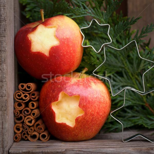 Alma kettő karácsony stílus ünneplés dekoráció Stock fotó © ChrisJung