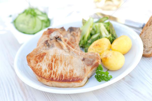 Cotoletta carne patate verdura alimentare bistecca Foto d'archivio © ChrisJung