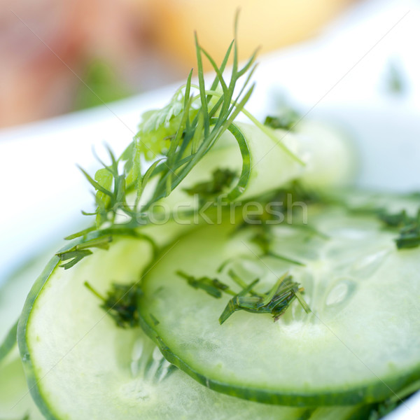 Stock photo: Fresh cucumber salad