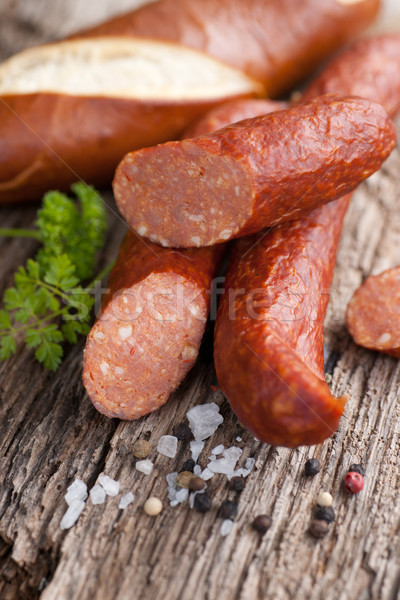 Saucisse paprika bois sol Photo stock © ChrisJung