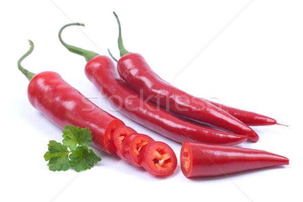 Foto d'archivio: Rosso · peperoncino · bianco · terra · colore · mangiare