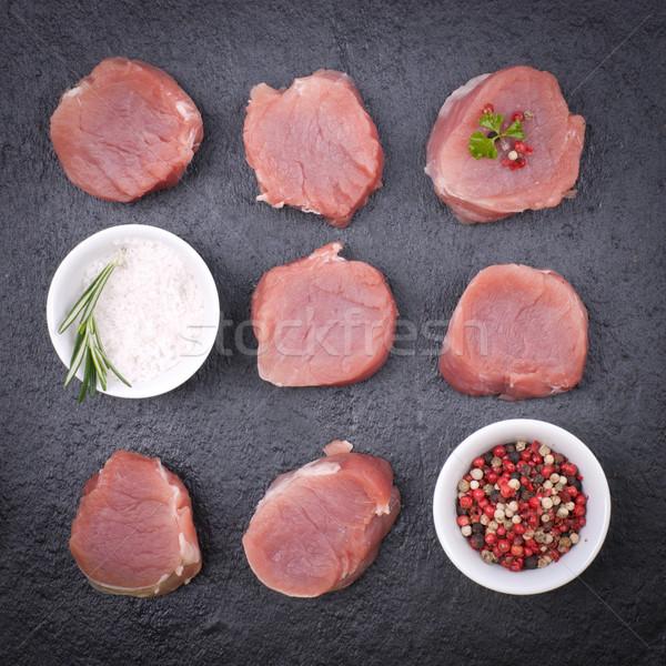 Varkensvlees kruiden specerijen barbecue bbq maaltijd Stockfoto © ChrisJung