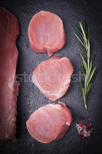 Disznóhús friss BBQ étel diéta organikus Stock fotó © ChrisJung