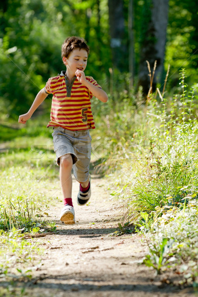 Young boy running in nature Stock photo © chrisroll