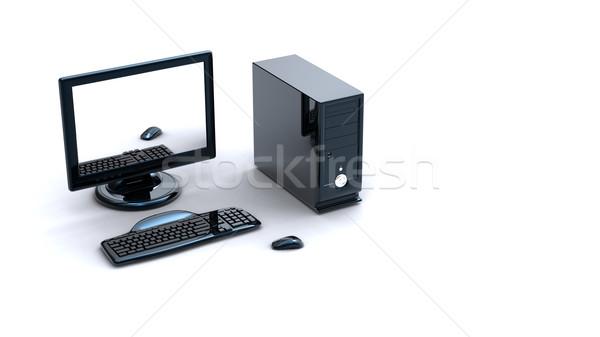 3D コンピュータのキーボード マウス 白 作業 ネットワーク ストックフォト © chrisroll