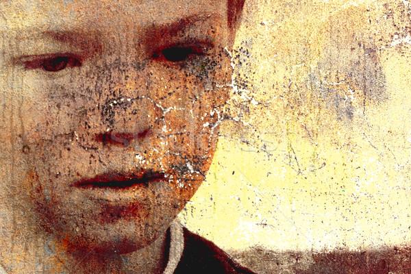 üzücü çocuk grunge resim güneş arka plan Stok fotoğraf © chrisroll