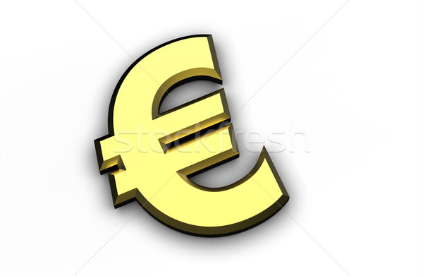 golden Euro symbol isolated on a white background Stock photo © chrisroll