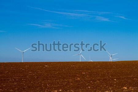 Aerogenerador cielo azul naturaleza paisaje vaca campo Foto stock © chrisroll