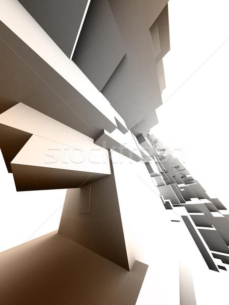 Bouwkundig ontwerp 3D witte gebouw achtergrond Stockfoto © chrisroll