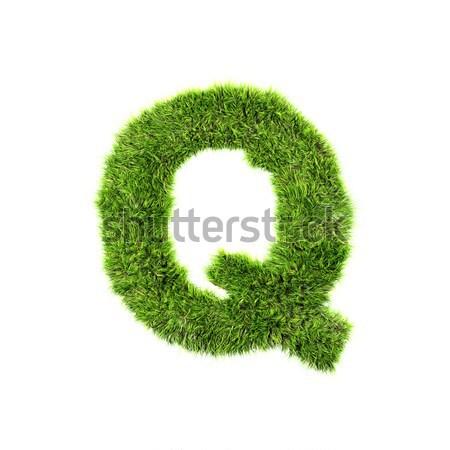 3d grass letter isolated on white background - Q Stock photo © chrisroll
