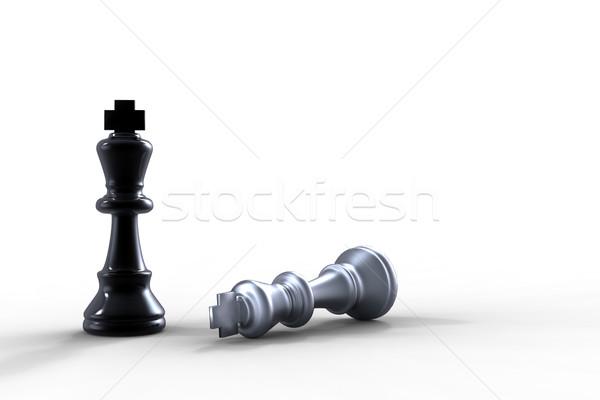 Schaakmat twee schaakstukken schaken zwarte succes Stockfoto © chrisroll