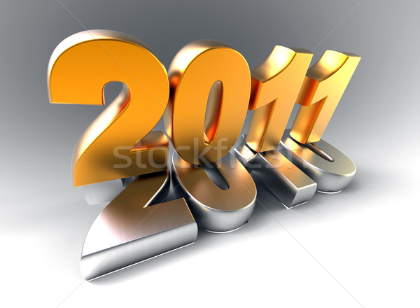 3D año nuevo 2011 forma feliz luz Foto stock © chrisroll