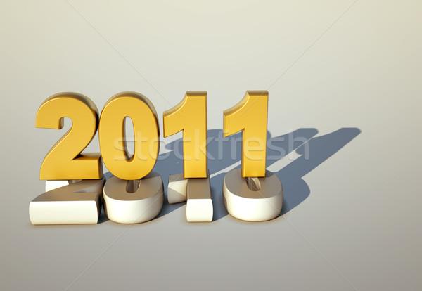 3D nowy rok 2011 szczęśliwy świetle Zdjęcia stock © chrisroll