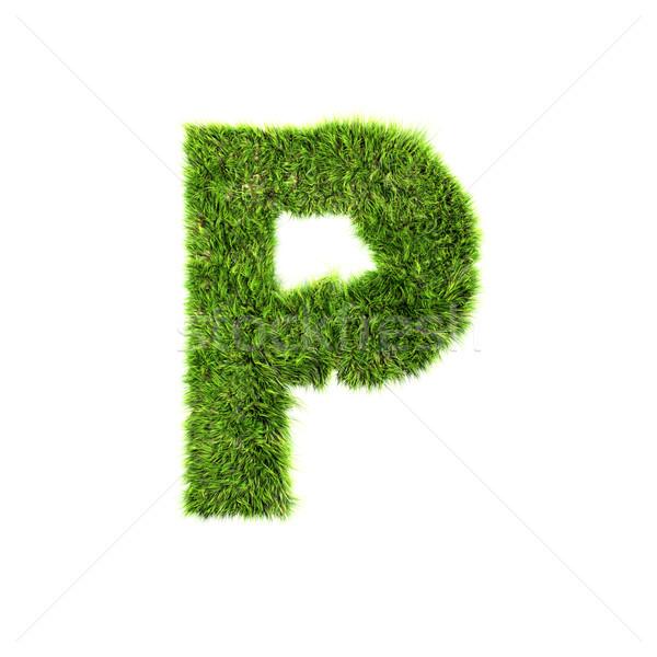 3d grass letter isolated on white background - P Stock photo © chrisroll