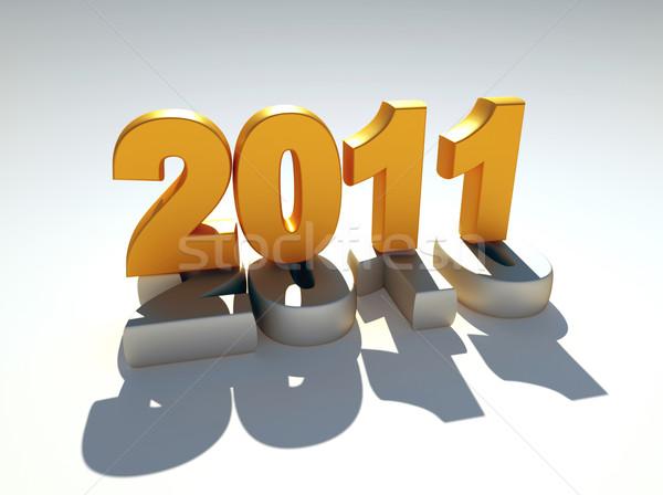 3D nowy rok 2011 komputera wygenerowany ilustracja Zdjęcia stock © chrisroll