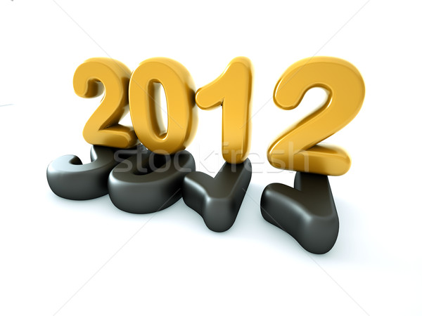 3D nouvelle année 2012 forme blanche heureux Photo stock © chrisroll