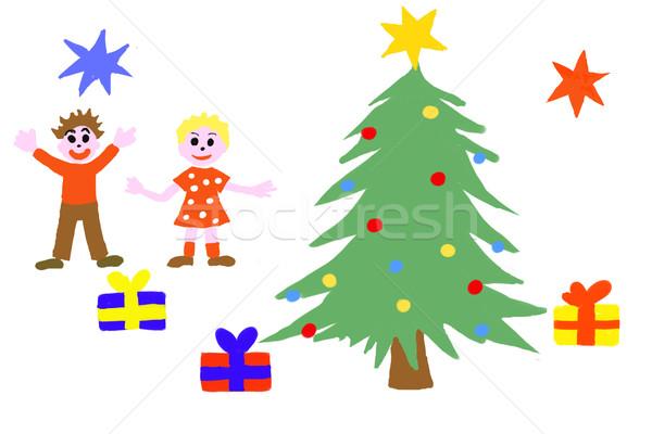 Stockfoto: Christmas · geschenken · naïef · tekening · kinderen · kind