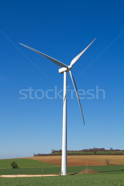 ветровой турбины Blue Sky природы пейзаж корова области Сток-фото © chrisroll