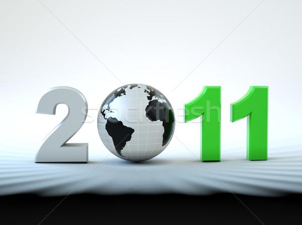 3D capodanno 2011 illustrazione mondo felice Foto d'archivio © chrisroll