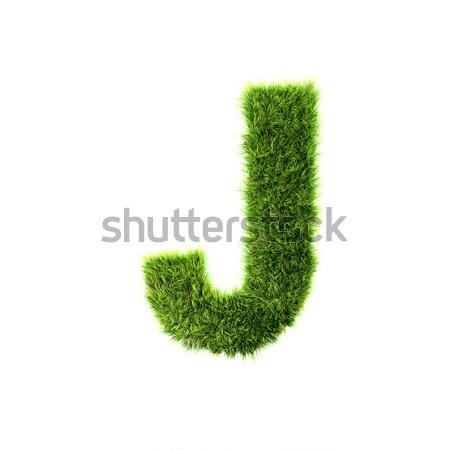 3d grass letter isolated on white background - J Stock photo © chrisroll
