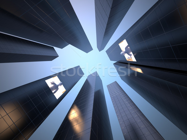 Communicatie 3D foto wolkenkrabbers kantoor stedelijke Stockfoto © chrisroll
