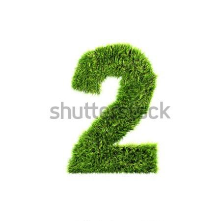 3D Gras digit isoliert weiß Textur Stock foto © chrisroll