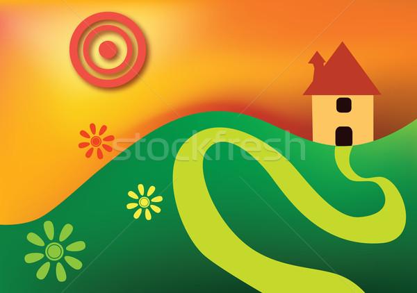 Saf boya küçük ev tepe çiçek Stok fotoğraf © chrisroll