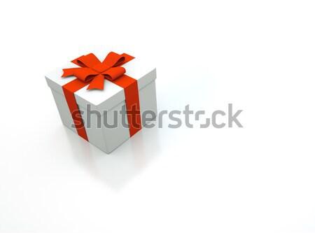 Zdjęcia stock: 3D · szkatułce · biały · strony · urodziny · czerwony