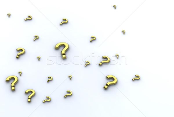 golden interrogation points on white background Stock photo © chrisroll