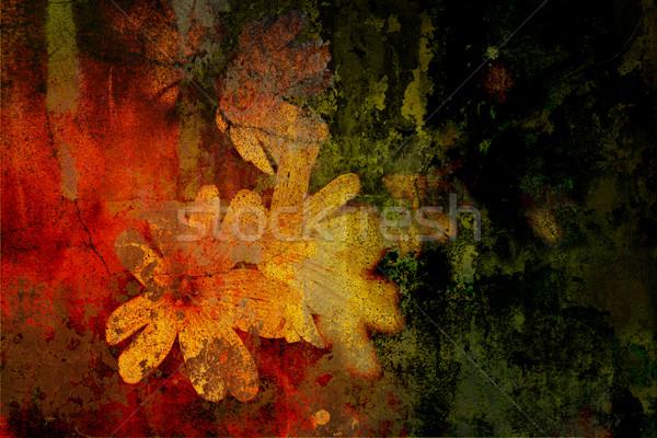 Bloemen grunge gekleurd foto kaart achtergrond Stockfoto © chrisroll