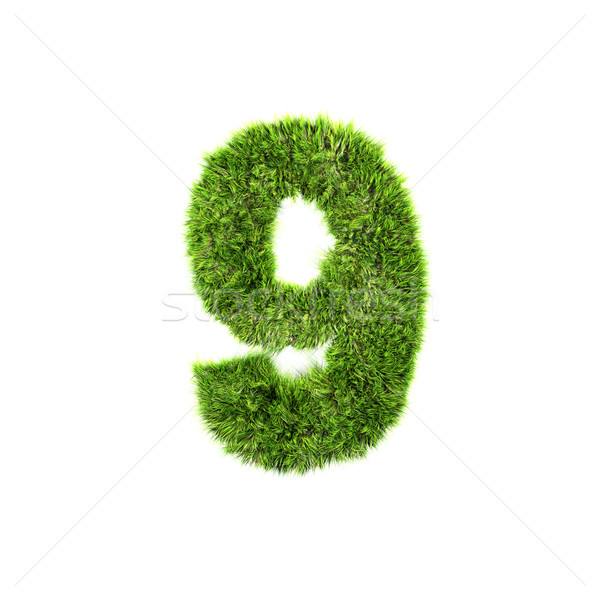 3d grass digit isolated on a white background - 9 Stock photo © chrisroll