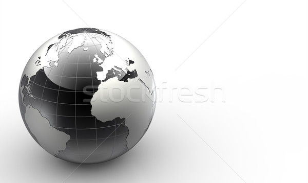 black and white 3d glossy globe Stock photo © chrisroll