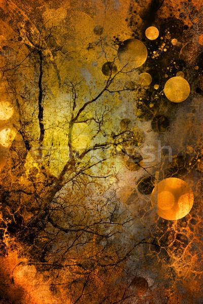 グランジ ツリー 抽象的な 金属 夏 緑 ストックフォト © chrisroll