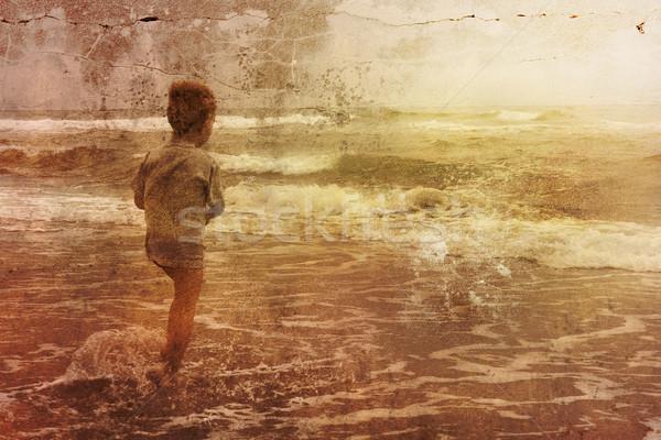 Foto stock: Grunge · agua · familia · sol · verano · océano