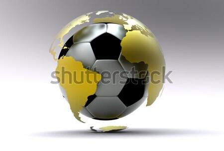 Foto stock: 3D · dorado · balón · de · fútbol · fútbol · fútbol · metal