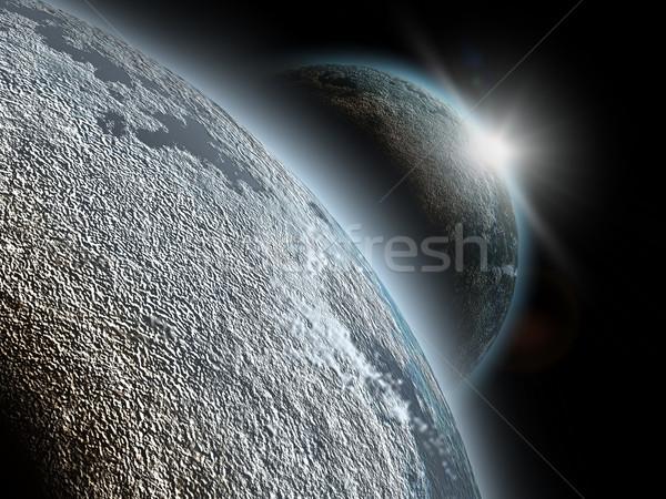 Planeta 3D sol luz diseno Foto stock © chrisroll
