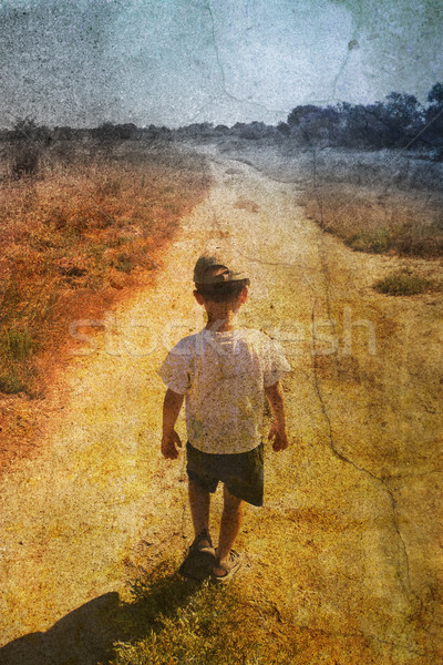 Enfant route vintage photos jeunes texture Photo stock © chrisroll