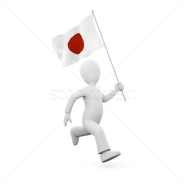 Stock photo: holding a japenese flag