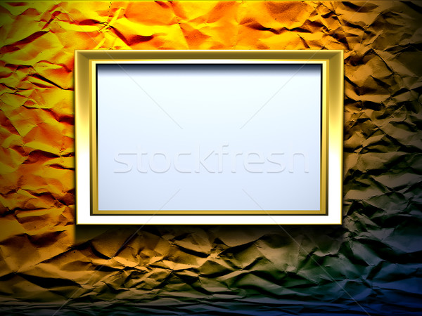 gold frame on wrinkled background Stock photo © chrisroll