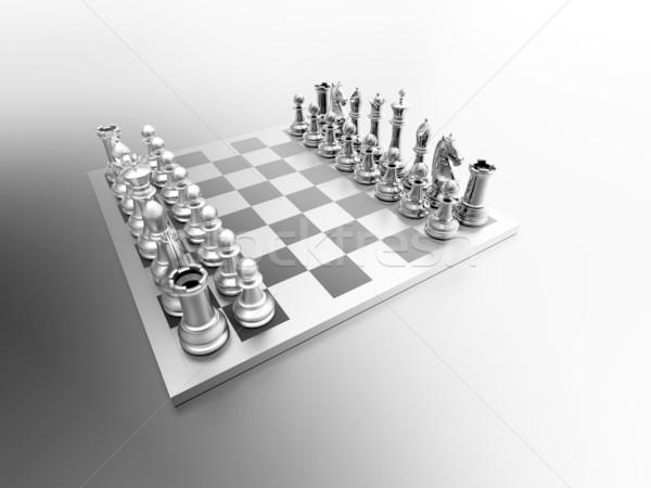 Satranç tahtası 3D kavga plan zafer takım çalışması Stok fotoğraf © chrisroll