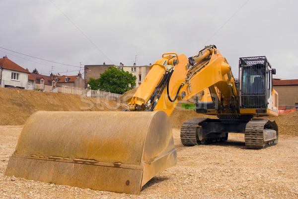 Bewegende vuil landscaping nieuw huis gebouw werk Stockfoto © chrisroll