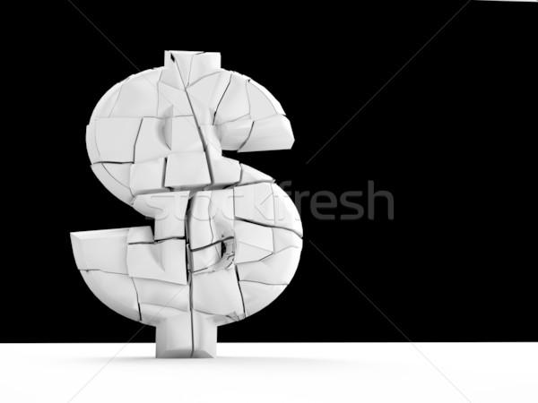 Inflatie 3D gebroken valuta teken zwart wit Stockfoto © chrisroll