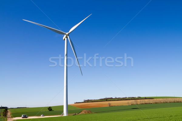 ветровой турбины Blue Sky области зеленый синий энергии Сток-фото © chrisroll