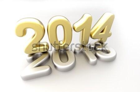 Foto stock: 3D · año · nuevo · 2012 · forma · blanco · feliz