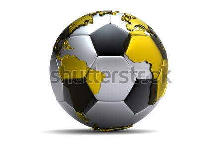 Foto stock: 3D · dorado · balón · de · fútbol · continentes · fútbol · fútbol