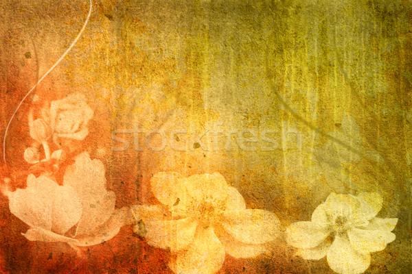 ヴィンテージ 花 画像 グランジ 花 テクスチャ ストックフォト © chrisroll