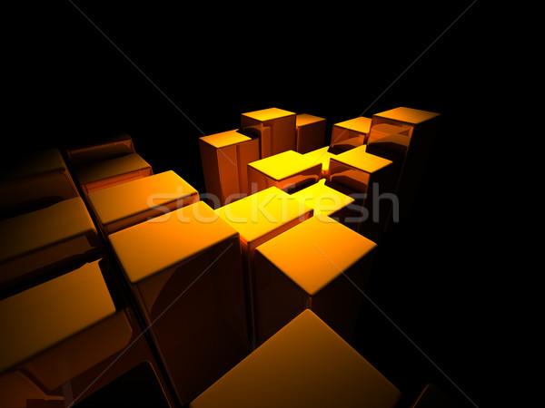 Stock fotó: 3D · építészeti · terv · absztrakt · doboz · sebesség