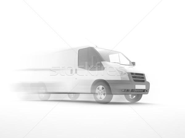 白 ヴァン 3次元の図 車 通り 背景 ストックフォト © chrisroll