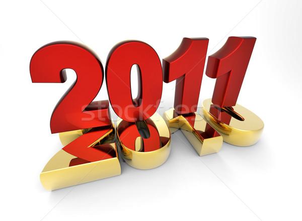 3D nouvelle année 2011 forme heureux lumière Photo stock © chrisroll