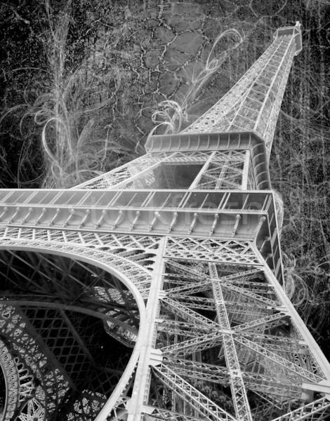 Eiffel-torony grunge feketefehér kép égbolt térkép Stock fotó © chrisroll